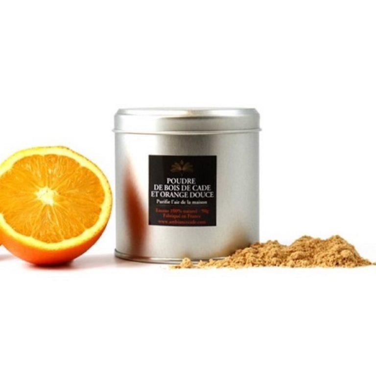 """Poudre de cade à l'orange douce. Encens 100% naturel issu de l'arbuste """"Cade"""". Purificateur et assainissant. Utilisez le pour votre intérieur."""