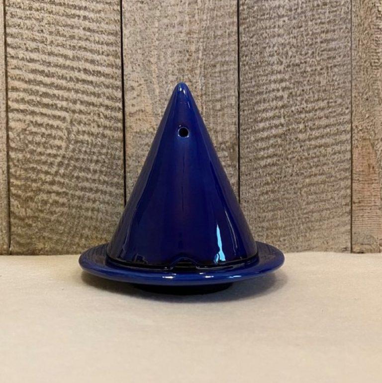 Lampe Merlin ®, diffuseur d'encens de cade naturel, couleur Bleu cobalt. Fabrication artisanal en céramique émaillée