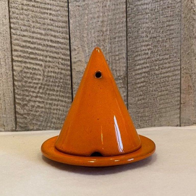 Lampe Merlin ®, diffuseur d'encens de cade naturel, couleur Orange. Fabrication artisanal en céramique émaillée
